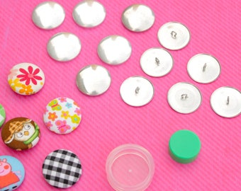 30 Sets Covered Button Kits DIY Button Craft Kits with 3 Set Assembly Tools