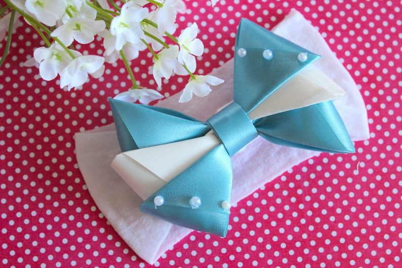 Baby Shower Gift Headband for Newborn Light Blue Headband Blue and White Bow Headband Headband Blue and White Headband Baby Headband