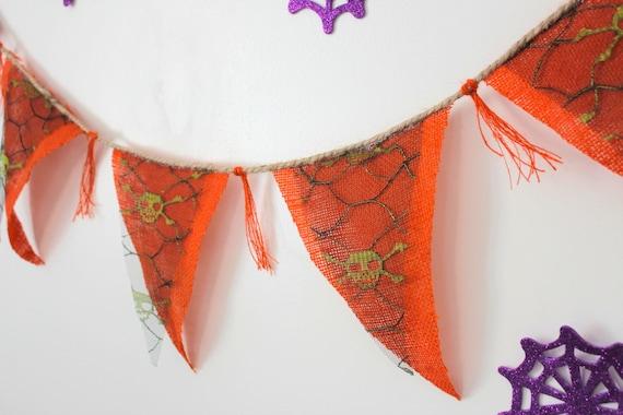 7/'3 2.2m HALLOWEEN Fabric Bunting Halloween Bunting Halloween Wall Decor,Halloween Party Decor,Halloween Banner Halloween Flag Banner