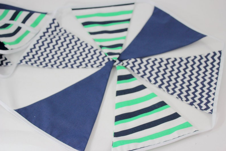 Boys Party Decor 2.7m 8/'8 Blue and Green Fabric Bunting Boys Backdrop Wall Decor Blue and Green Banner Kids Decor Flag Banner
