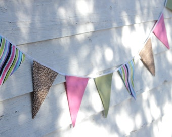 "Fabric Bunting, 8'6"" (2.6m) Multicolor Bunting, Flag Banner, Wall Decor, Party Decor, Kids Decor, Cake Smash, Baby Shower Decoration"