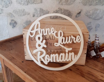 Decoration for your wedding! Your wooden first names for a unique wedding