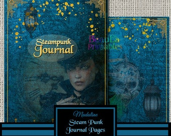 Vintage Steam Punk Journal - Printable Journal Kit - Blue Steampunk Journal - Printable Journal Diary - Journal Covers, Instant Download