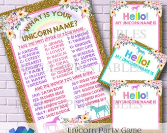 Unicorn Party Game, Unicorn Name Game, Printable Unicorn Name Badge, Party Printables, Unicorn Game, Unicorn Party Invite, Instant Download