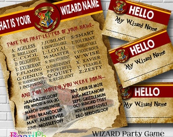 Wizard Name Game, Wizard Party Game, Printable Wizard Name Badges, Party Printables, Wizard Party Printable, Instant Download