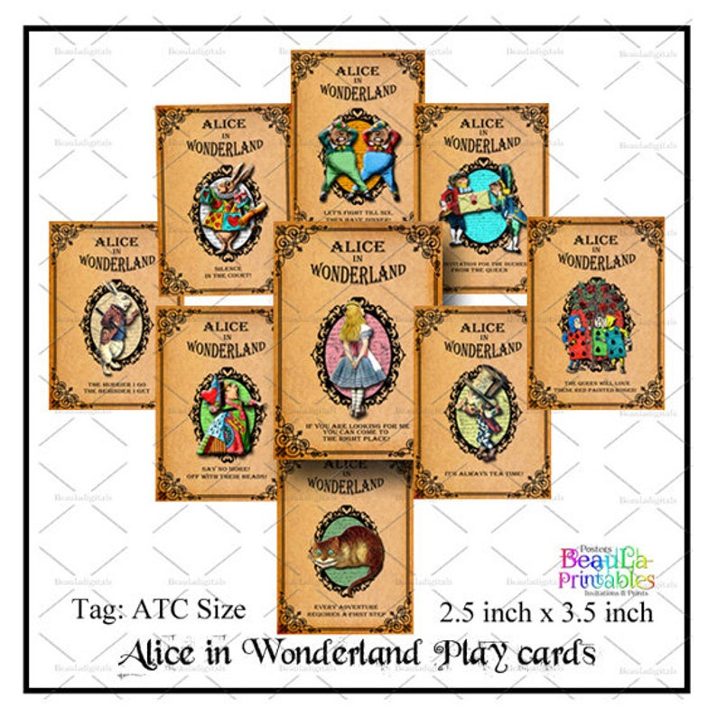 picture about Printable Alice in Wonderland known as Alice inside of Wonderland Magazine Playing cards, Alice inside of Wonderland Atcs, Printable Alice within just Wonderland Atcs, Printable ATC playing cards - Prompt Down load