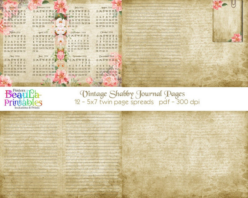 Vintage Printable Journal Journal Covers Printable Journal Kit Printable Journal Diary Vintage Shabby Journal Instant Download