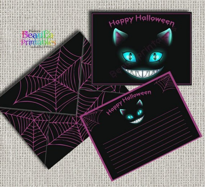 Printable Card and Envelope Instant Download Black Cat Envelope DIY Halloween Cat Card and Envelope Halloween Cat Envelope Printed