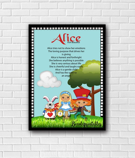 Personalized Name Certificate First Name meaning Alice in | Etsy