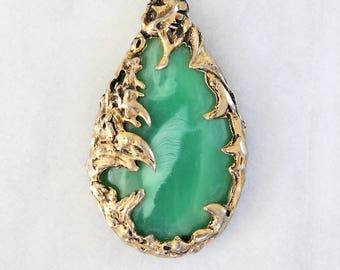 Vintage Faux Jade, Double-Strand Pendant Necklace