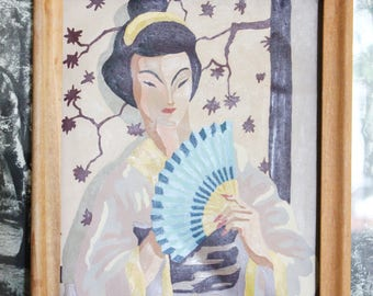 Vintage Framed Geisha Paint-by-Numbers