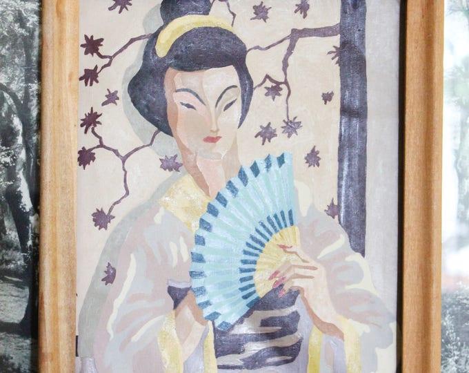 Vintage Framed Geisha Paint-by-Numbers