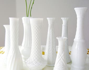 Milk Bud Glass Vases, Set of Eight