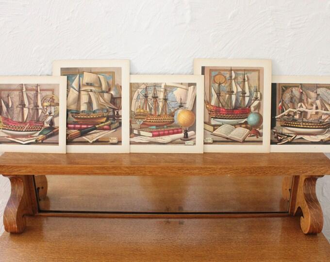 Model Ship Prints, Set of Five