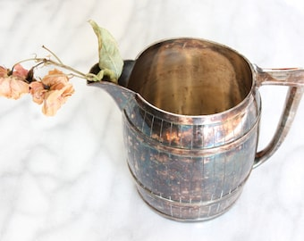 Silverplate Barrel Pitcher