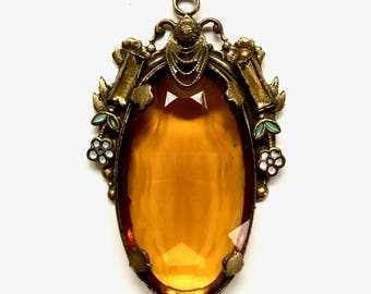 Art Nouveau Amber Glass Pendant