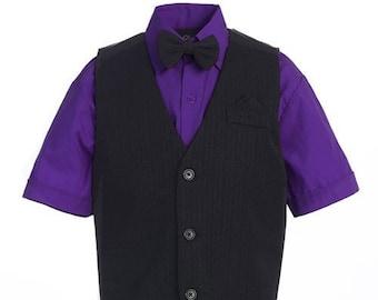 New Boys 4 Piece Suit - Pinstripe Black Vest & Shorts, Purple Shirt, Bowtie - Wedding, Communion, Formal, Ring Bearer, Recital, Baptism