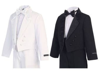 Boys White or Black Long Tail Tuxedo Suit, Ring Bearer Outfit, Infants Toddlers Tux