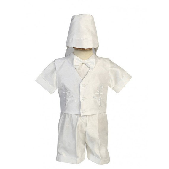 Infant Baby Boys White Romper Suit Outfit Set Hat Christening Baptism Matthew