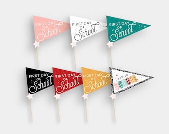First Day of School Pennant Flag Printable Homeschool School Back to School Grade Instant Printable