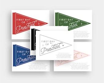 First Day of Preschool School 2020 Pennant Flag Printable School Grade Instant Print