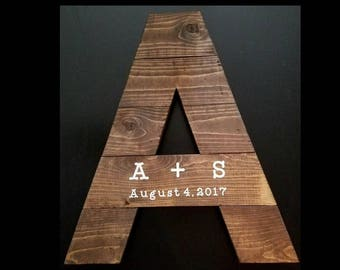 Rustic Wood Letter Wedding Guest Book - Initial of Your Choice