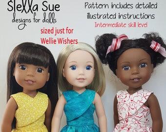 Stella Sue Crossover Dress Pattern to fit Wellie Wishers  Digital download