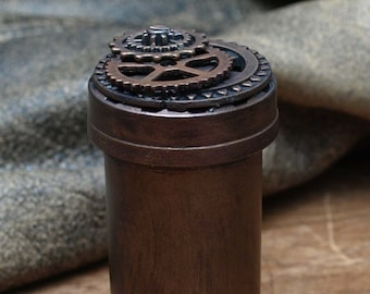 Set of 3 Steampunk Pill Bottles / Containers / Trinket Jars