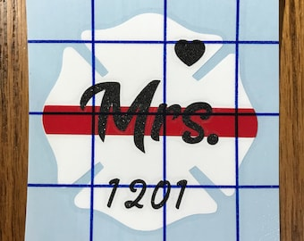 Firefighter Wife Decal, Firefighter Wife, Fire Wife, Firefighters Wife, Firemans Wife, Glitter Decal, Thin Red Line Decal, Maltese Cross