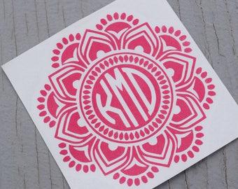 Monogram Mandala Vinyl Decal, Monogram Vinyl Decals, Monogram Flower Decal, Mandala Decal, Mandala Tumbler Decal, Mandala Car Decal