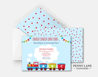 Train Birthday invite, Train Birthday Invitation, Chugga Chugga Choo Choo, Boys Birthday Party invite, Blue and Red, Polka Dots, Printable