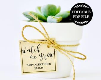 Editable PDF, Watch me Grow Tags, Baby Shower Gift Tags, Baby Shower Favor, Baby Shower Favours, Baby Shower Printables, DIY, Thank You