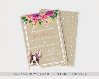 Girl birthday invite etsy editable pdf boston terrier invite dog invitation girls birthday invites 1st birthday party invitations girls pink polka dot kraft filmwisefo