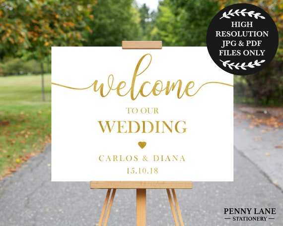 Welcome to our Wedding Sign Gold Wedding Welcome Sign   Etsy