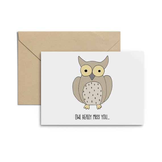 owl really miss you goodbye greeting card farewell card