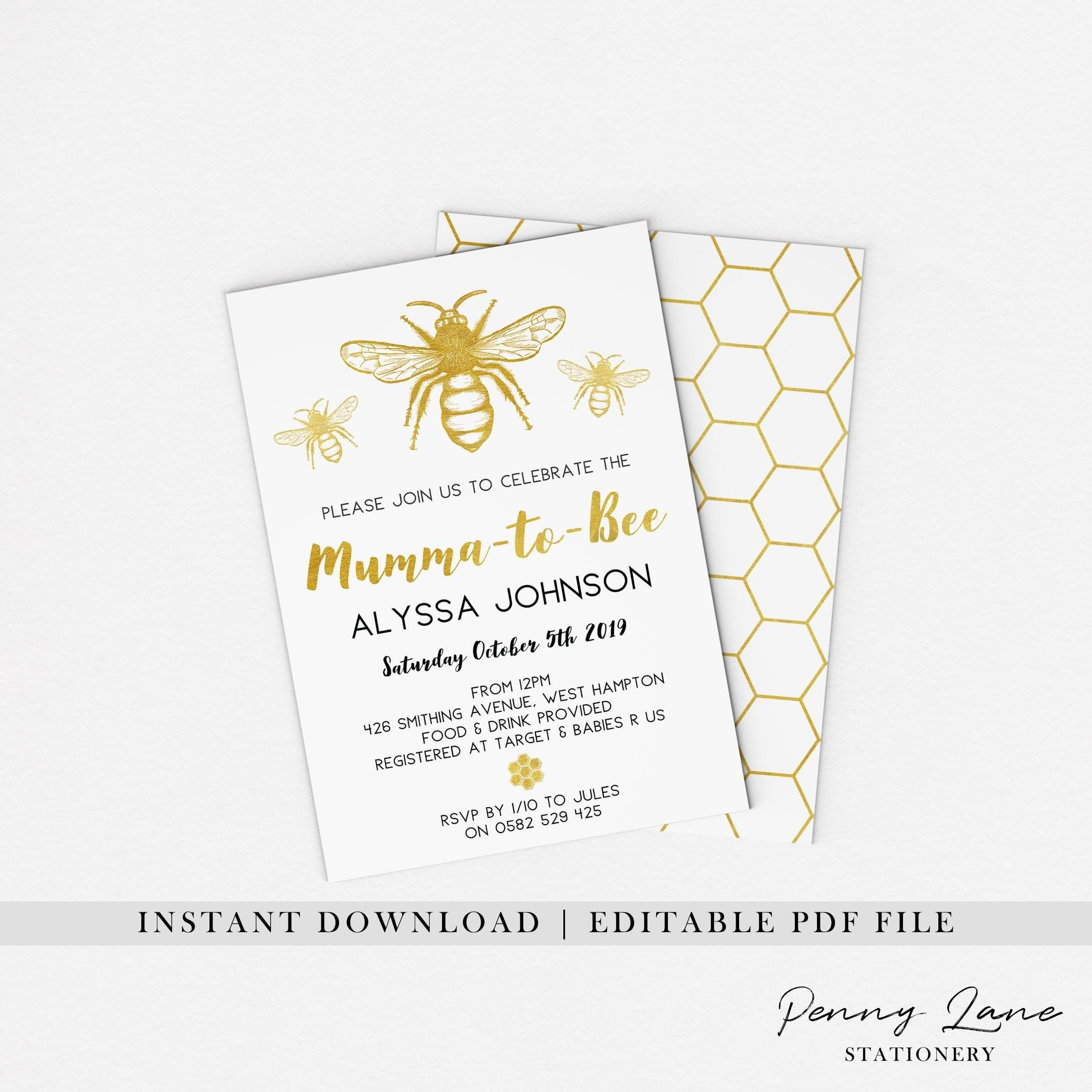 Gold Bee Invite Bee Baby Shower Invitation Mumma To Bee Etsy