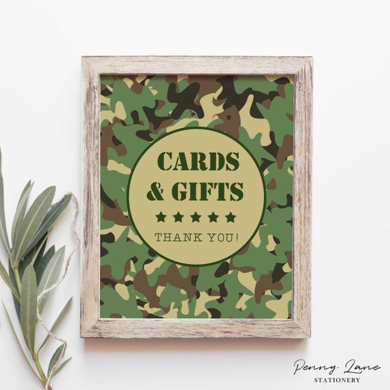 Editable Pdf Army Cards And Gifts Sign Table Camo Camouflage Boys Birthday Soldier Military Decor Party Decorations Printable By Penny Lane Stationery Catch My
