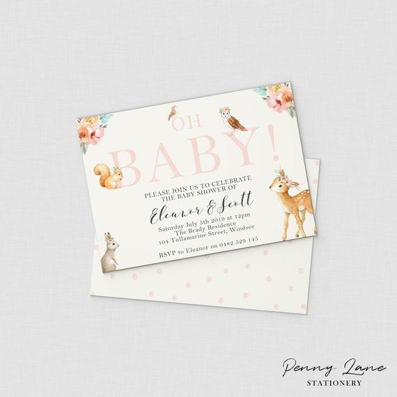 Girls woodland baby shower invitation baby animal baby shower etsy image 0 filmwisefo