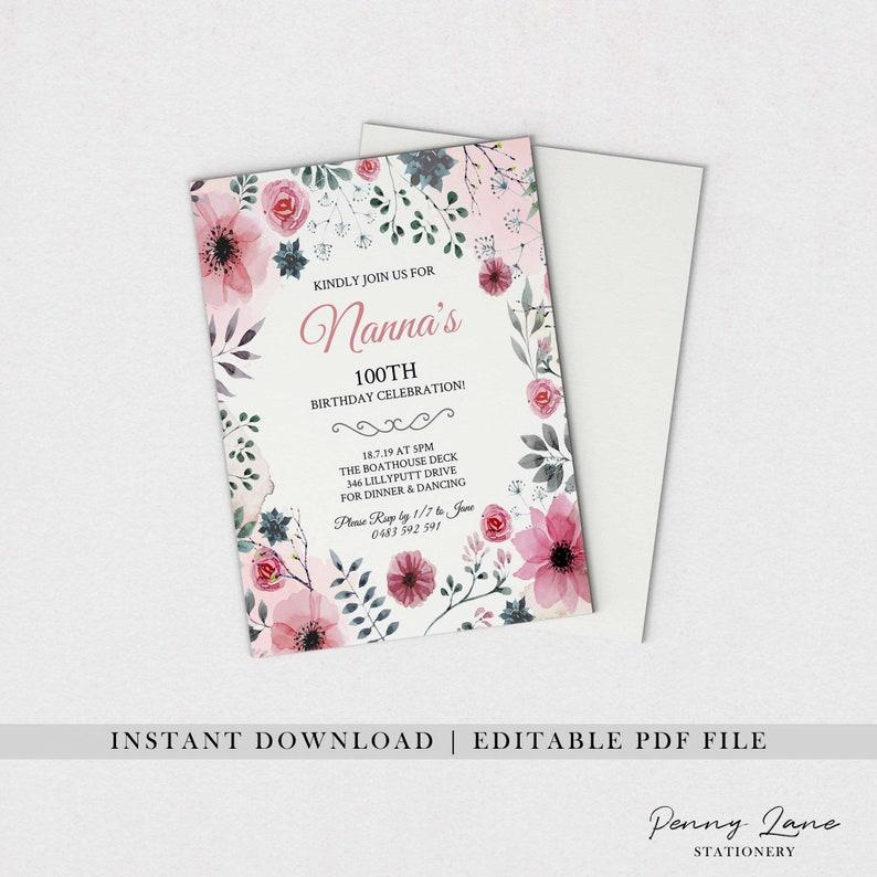 EDITABLE PDF Floral Birthday Invitation Vintage