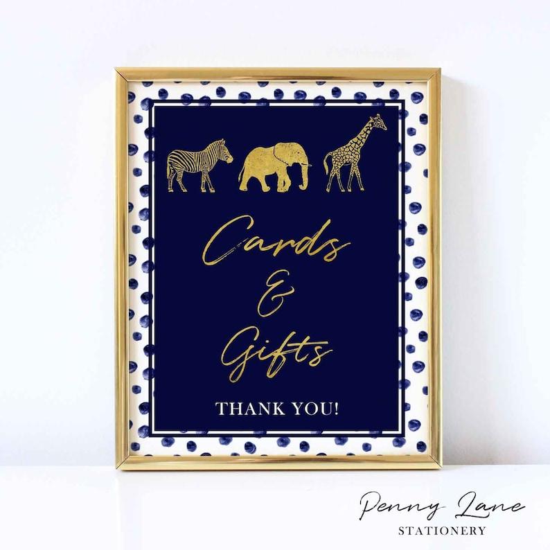 Safari Animals Welcome Sign EDITABLE PDF Baby Shower Poster Decorations Decor Navy and Gold Elephant Zebra Jungle Giraffe Modern