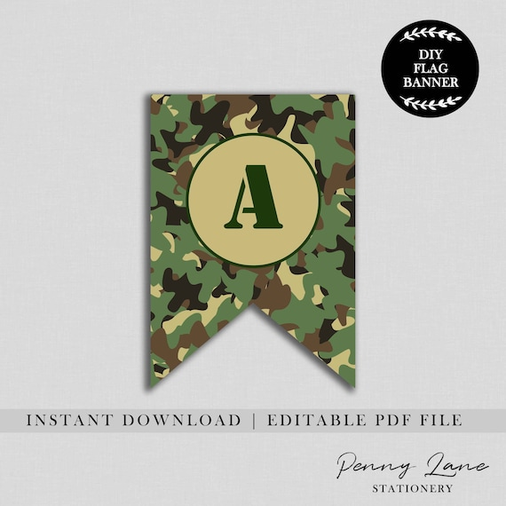 Editable Pdf Army Flag Banner Soldier Bunting Banner Military Happy Birthday Camo Party Decorations Printable Boys Instant Download By Penny Lane Stationery Catch My Party