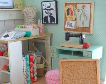 1:12 Scale Square Cork Bulletin or Inspiration Board in Wood Frame for Dollhouse Diorama & Room Box