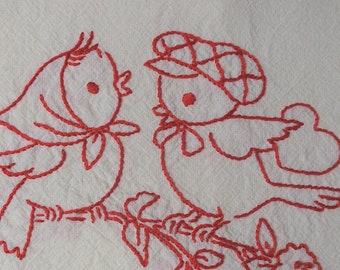 Hand Embroidered Tea Towel Redwork LOVE BIRDS