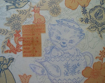 Mixed Media Art Collage with Vintage Kitsch Embroidery Transfers