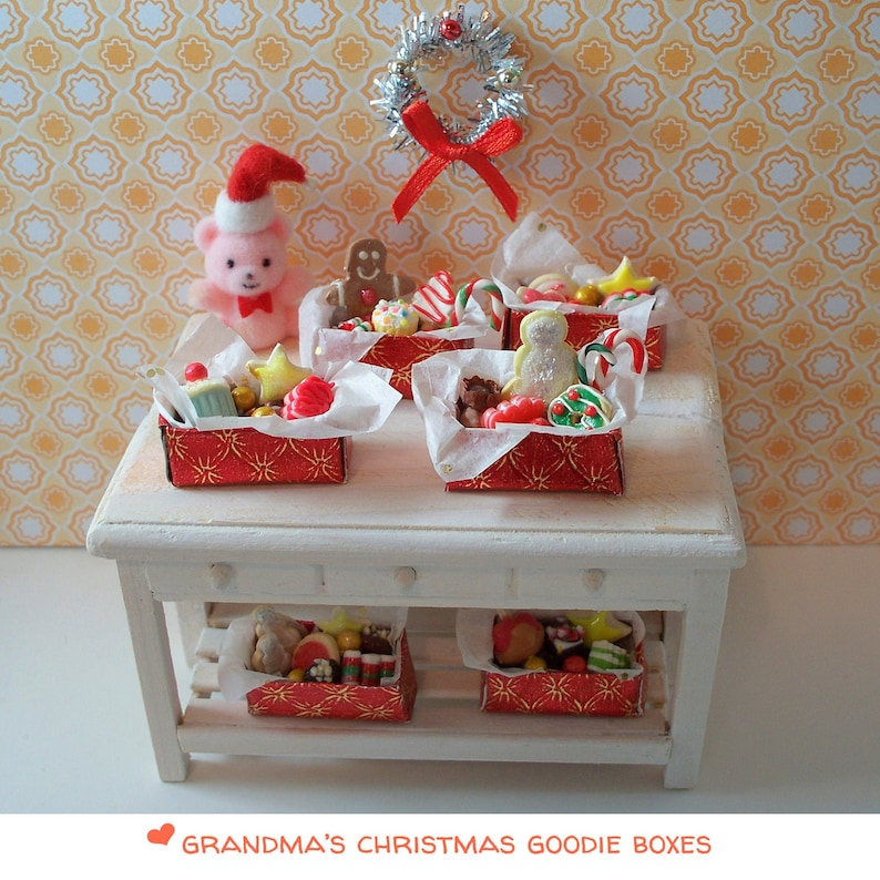 Grandma's Christmas Goodie Boxes in 1:12 Scale for Doll image 0