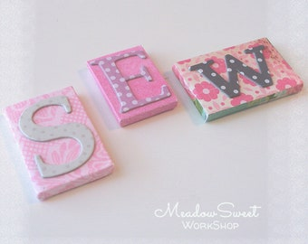 S E W Letter Tiles for DOLLHOUSE Decor or Crafting Jewelry Pins