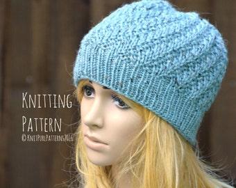 e825ef4adea5e9 Knitting Pattern PDF Instant Digital Download Womens Diagonal Beanie Hat  Knit It Yourself KPWB06