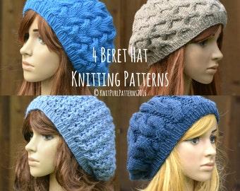 ec637127b723b 4 Knitting Patterns PDF Instant Digital Download Four Womens Beret Tam Hat  Patterns Knit It Yourself