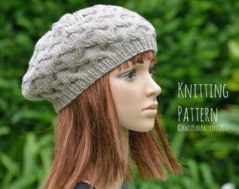 26477ac833707 Knitting Pattern PDF Instant Digital Download Womens Beret Tam Cable Hat  Knit It Yourself KPWT03