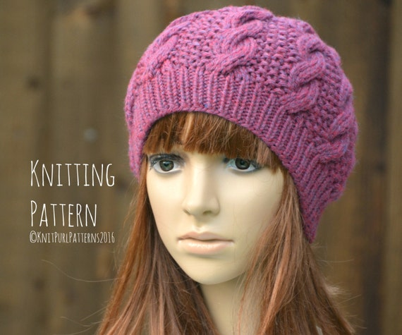 PRINTED KNIT INSTRUCTIONS SUPER CHUNKY CABLE BOBBLE BEANIE HAT KNITTING PATTERN
